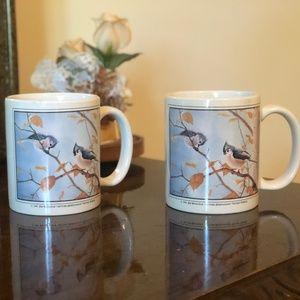 """Eklund's Ltd VINTAGE Tufted Titmice 3.5"""" Mugs"""